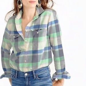 Mint flannel button up